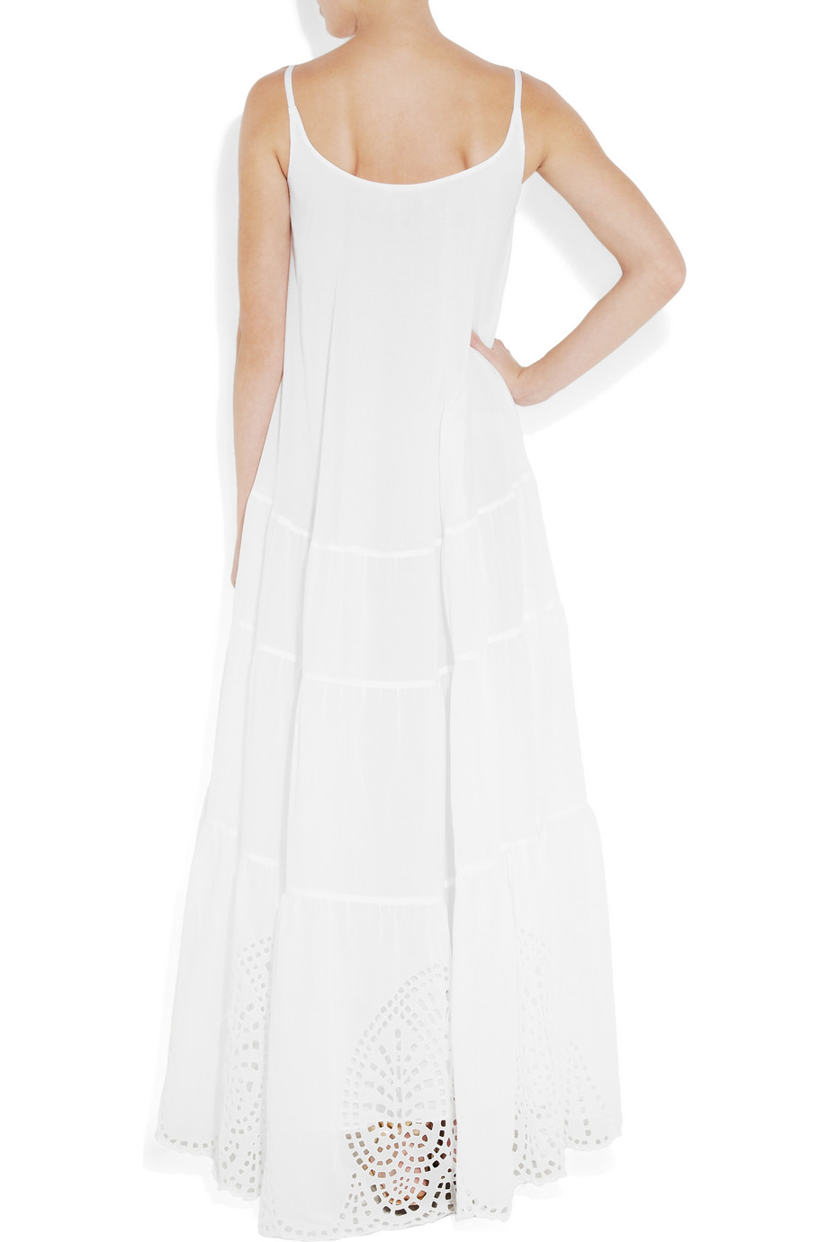 Eyelet Embroidered Cotton Voile Maxi Dress