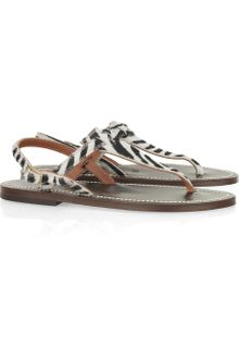 K. Jacques Cyprus Zebra-print Calf Hair Sandals - Lyst