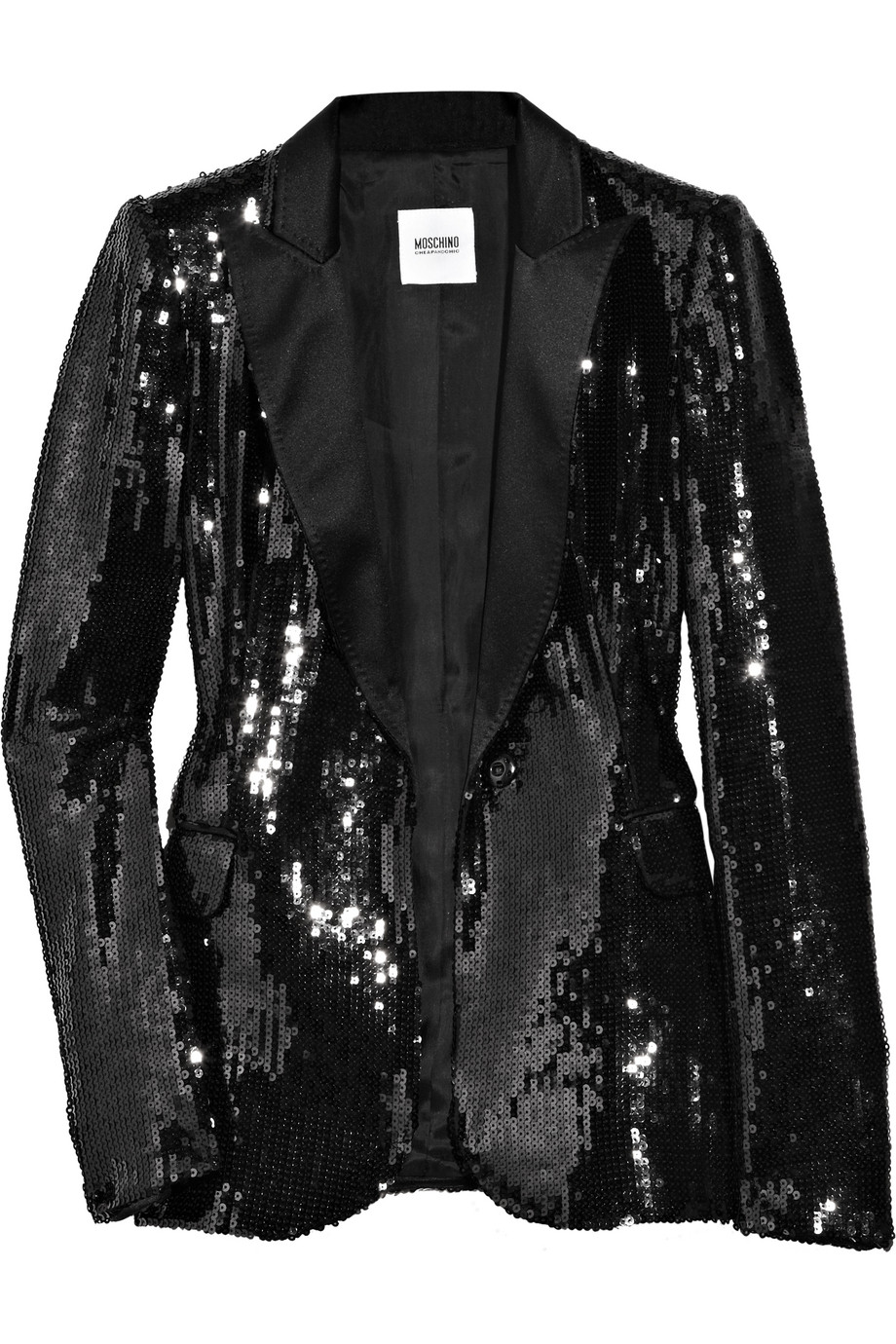 Lyst Boutique Moschino Sequined Satin Tuxedo Jacket In Black