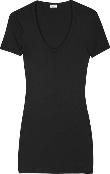 Splendid Cotton and Modal-blend T-shirt in Black - Lyst