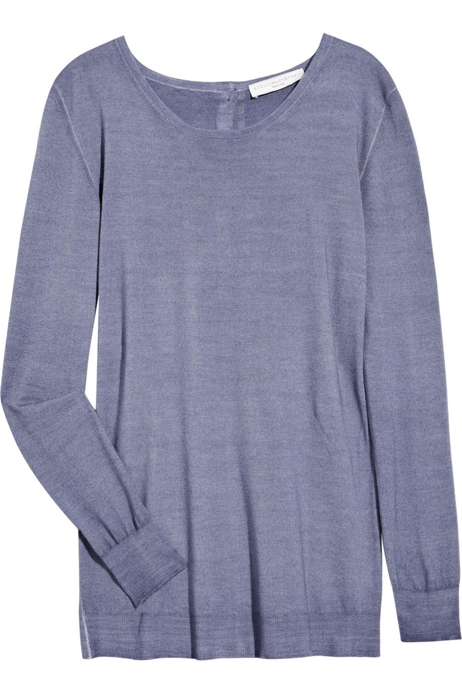 Wool Sweater Grey: Stella Mccartney Buttoned-back Wool Sweater In Blue