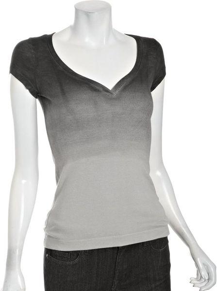 Three Dots Black Ombre Cotton Knit V Neck T Shirt In Black