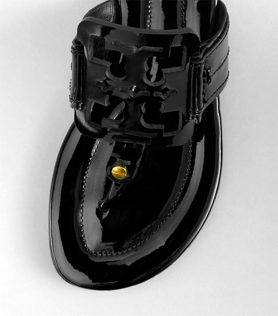 e18a5e992f92e Lyst - Tory Burch Square Miller Patent Leather Thong Sandals in Black