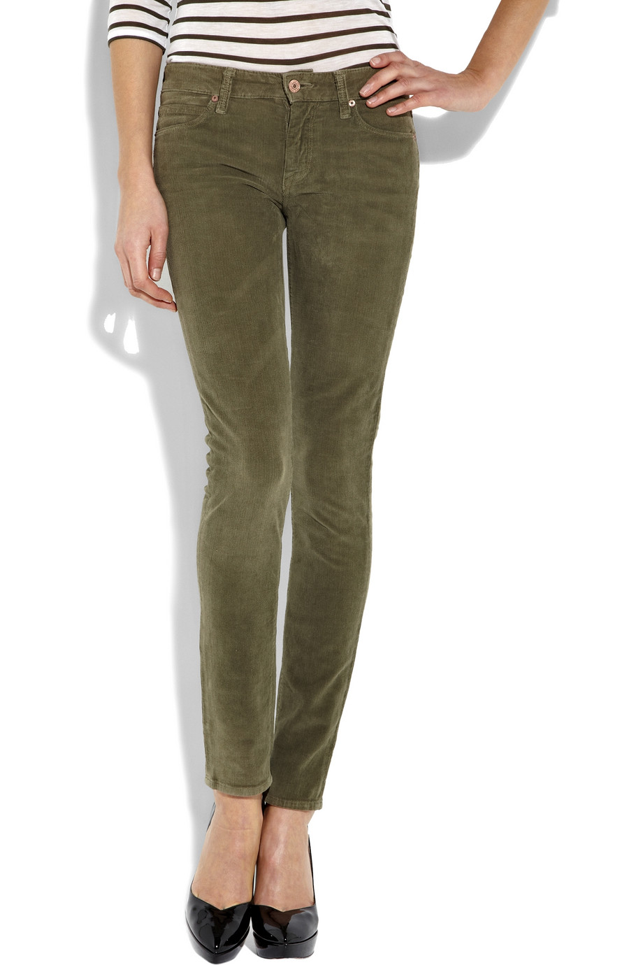 Vince Mid Rise Corduroy Skinny Jeans In Olive Green Lyst