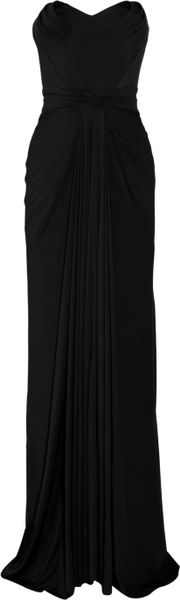 Zac Posen Stretch-jersey Strapless Gown in Black