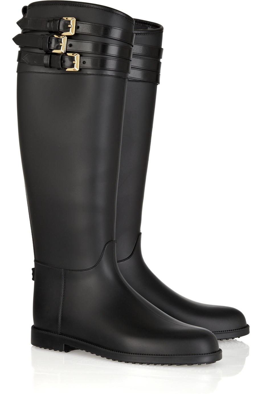 Burberry Buckle-embellished Rubber Boots in Black