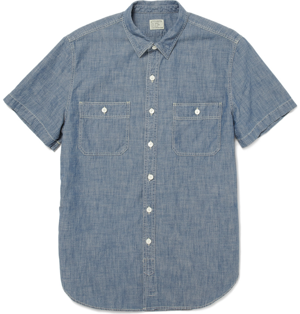 short sleeve chambray shirt in blue for men