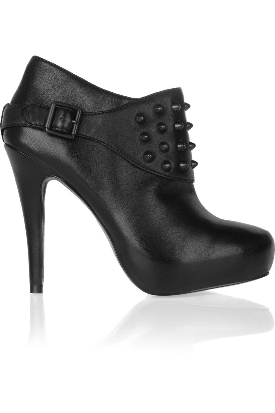 Ash Emma Studded Leather Ankle Boots in Black
