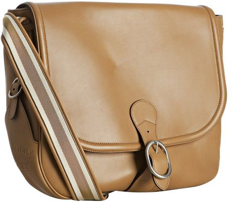 Gucci New Banana Leather Flap Front Shoulder Bag in Brown (tan) | Lyst