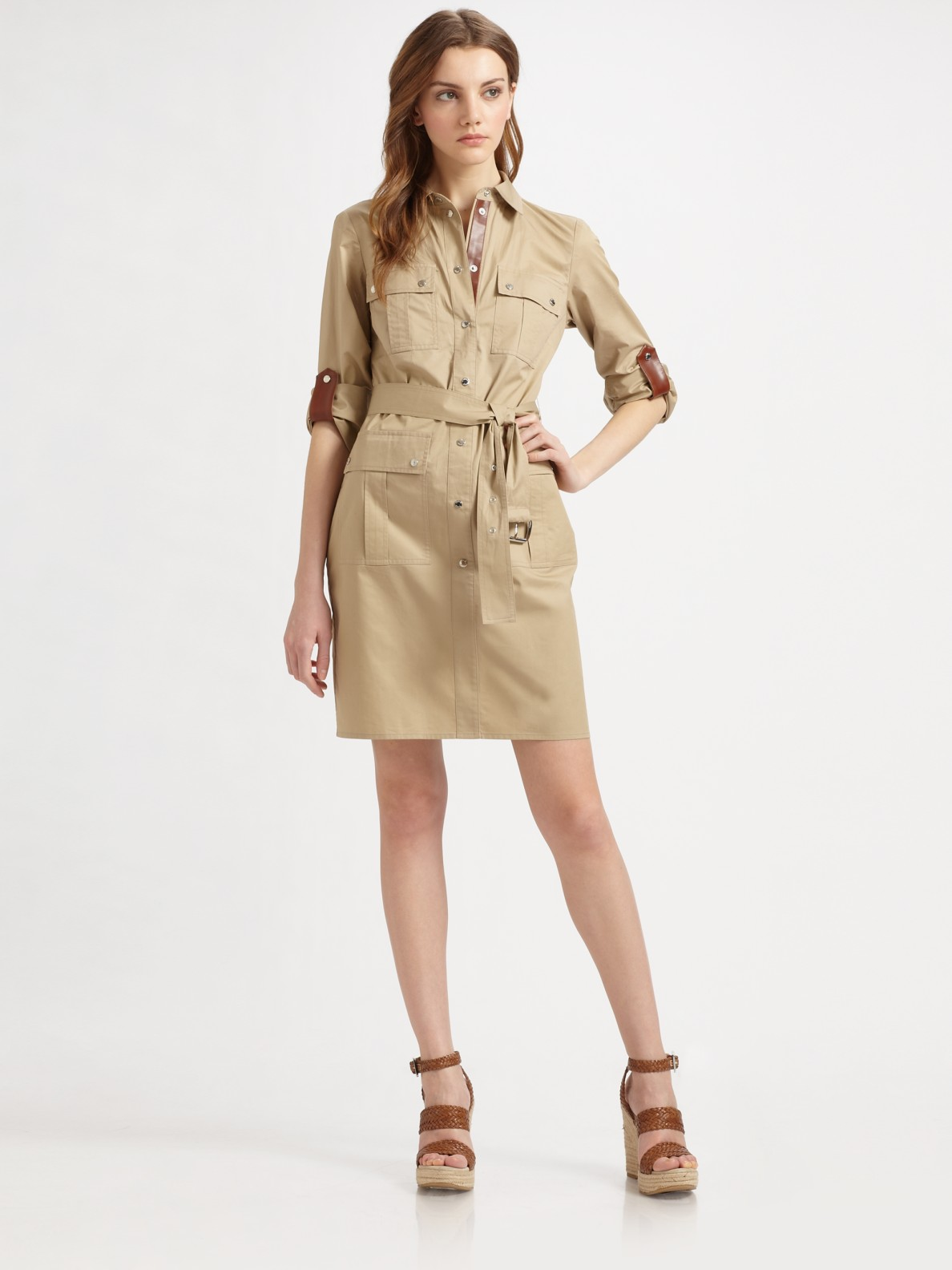 Michael Michael Kors Safari Shirt Dress In Khaki Natural