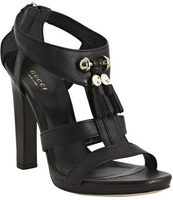 Gucci Black Leather Marrakech Tassel Detail Sandals - Lyst