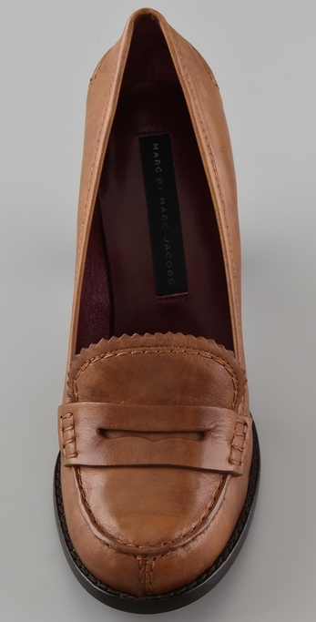 Marc By Marc Jacobs High Heel Penny Loafers In Brown Lyst
