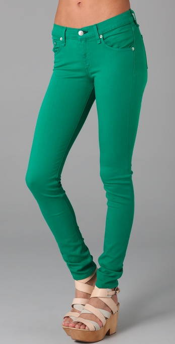 Rag & bone Denim Skinny Jeans in Green | Lyst
