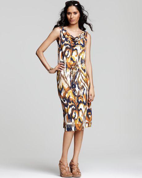 Tory Burch Verda Silk Jersey Printed Drawstring Dress In