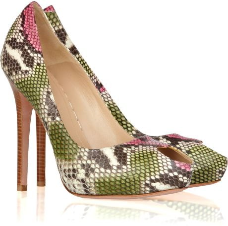 Alexander Mcqueen Peep-toe Snakeskin Pumps in Animal (green)