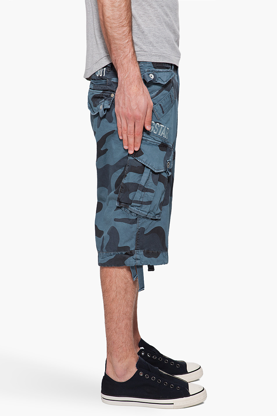 g star raw laundry camo rovic shorts in blue for men lyst. Black Bedroom Furniture Sets. Home Design Ideas
