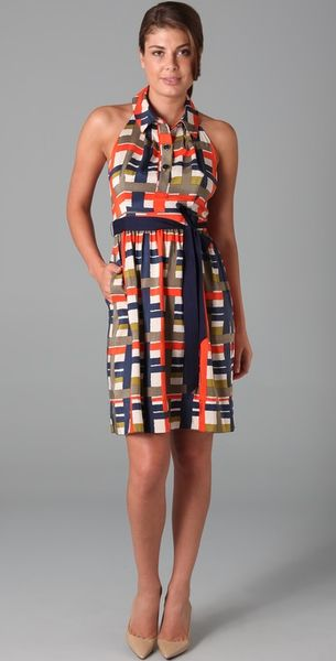 Milly Madras Plaid Silk Halter Dress In Multicolor Lyst