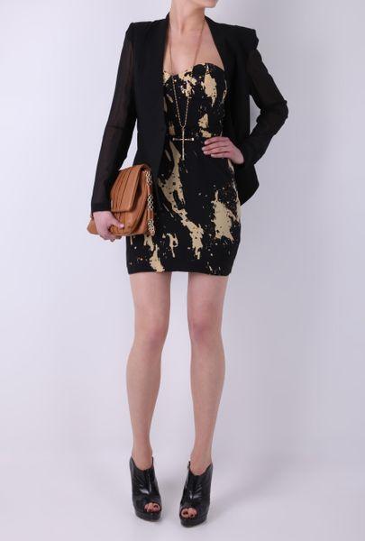 Olivia Rubin Gaudi Strapless Paint Splash Dress In Black