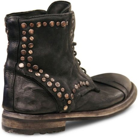Dolce Amp Gabbana Studded Waxed Calfskin Low Boots In Brown