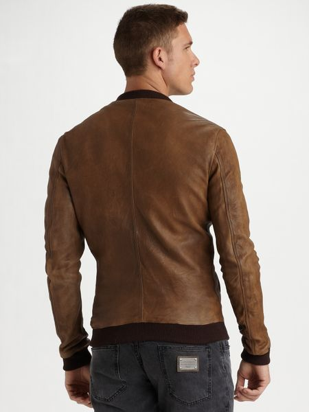 Dolce & Gabbana Leather Jacket in Brown for Men (tan) | Lyst
