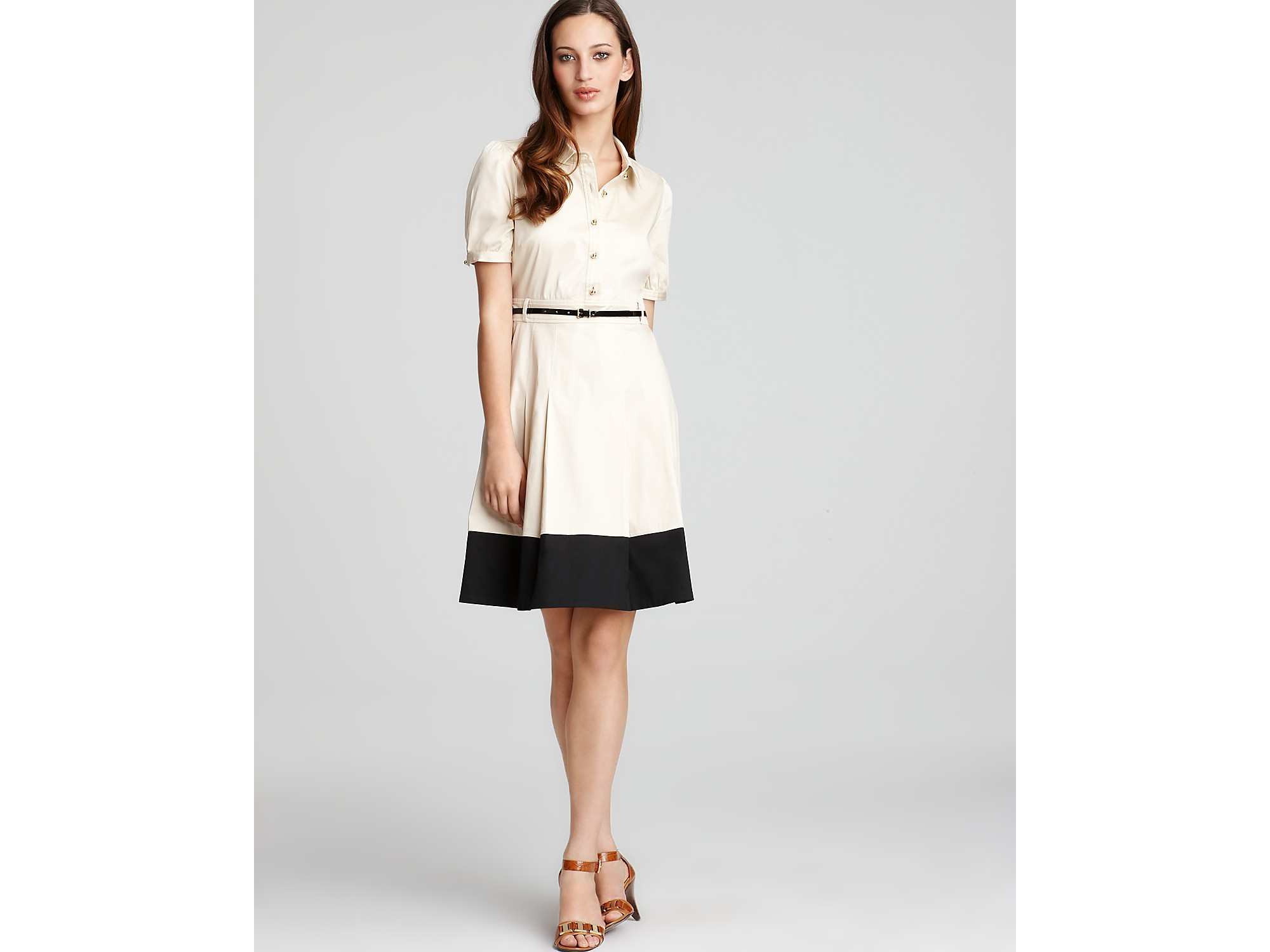Kate Spade New York Jeanette Belted Shirt Dress In Natural