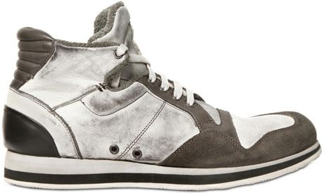Alberto Fasciani Washed Calf and Suede High Sneakers in Gray (white)