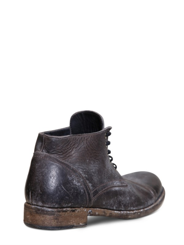 Dolce Amp Gabbana Weathered Leather Boots In Grey Brown