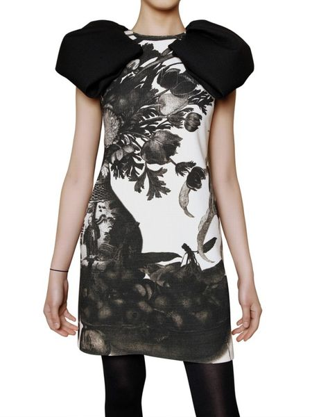 Giambattista Valli Printed Wool Crepe Dress in White