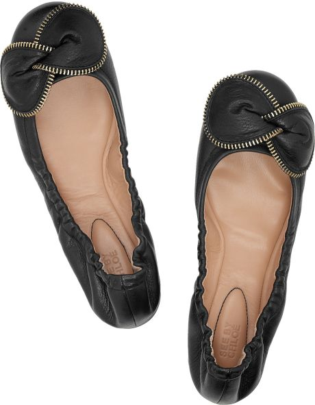 see by chlo zipped bow leather ballerina flats in black. Black Bedroom Furniture Sets. Home Design Ideas