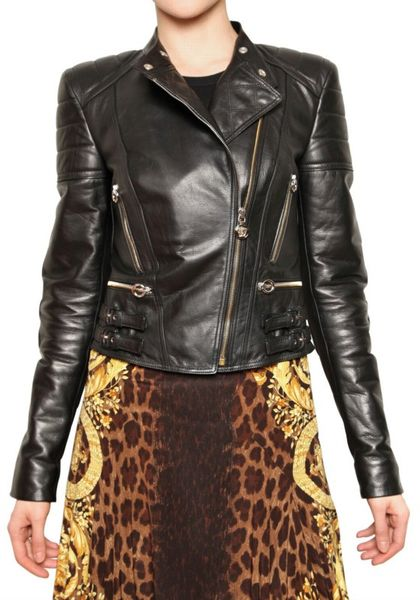 Versace Nappa Biker Leather Jacket in Black