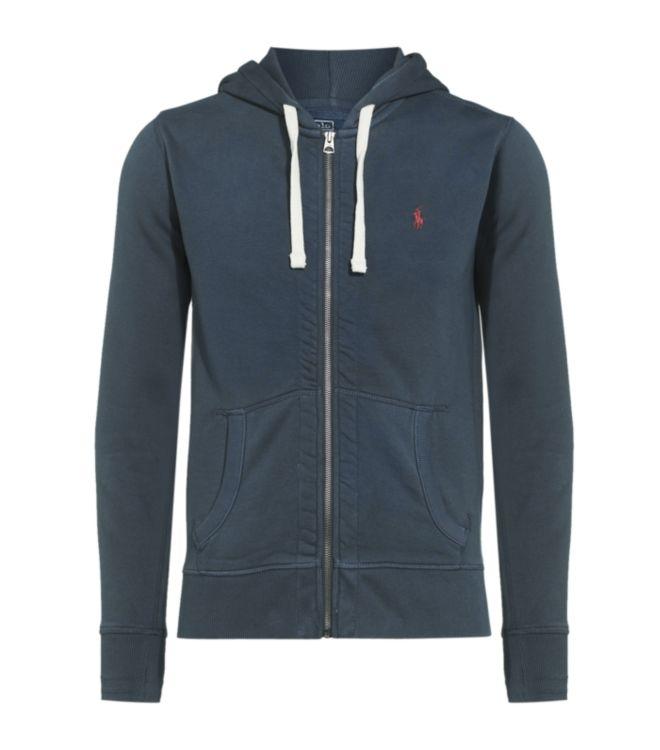 polo ralph lauren full zip fleece hoodie in gray for men. Black Bedroom Furniture Sets. Home Design Ideas
