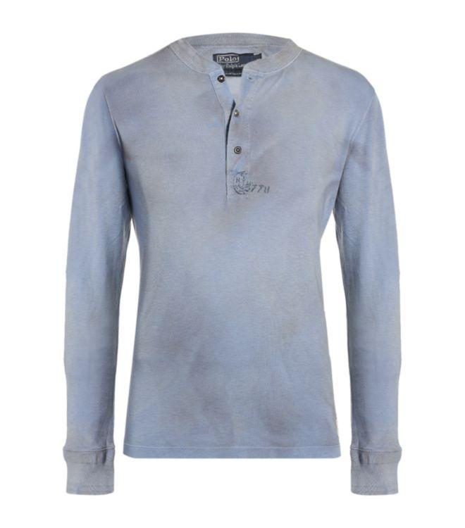 polo ralph lauren henley t shirt in blue for men lyst