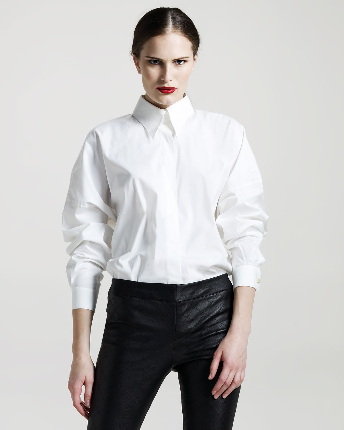 The row dolman sleeve french cuff blouse in white lyst French cuff shirt women