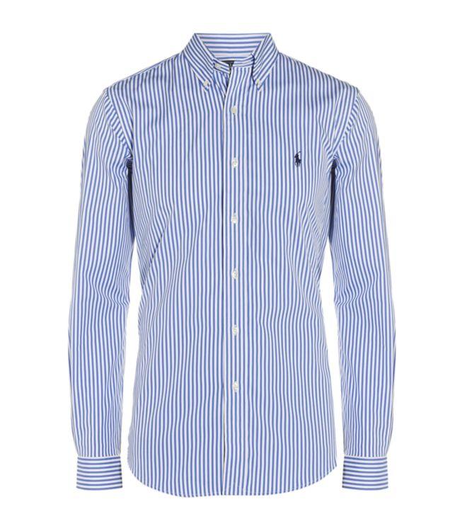Polo ralph lauren custom fit stripe dress shirt in blue for Custom fit dress shirts