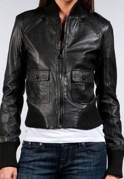 Rock Amp Republic Keagan Cropped Leather Bomber In Black Lyst