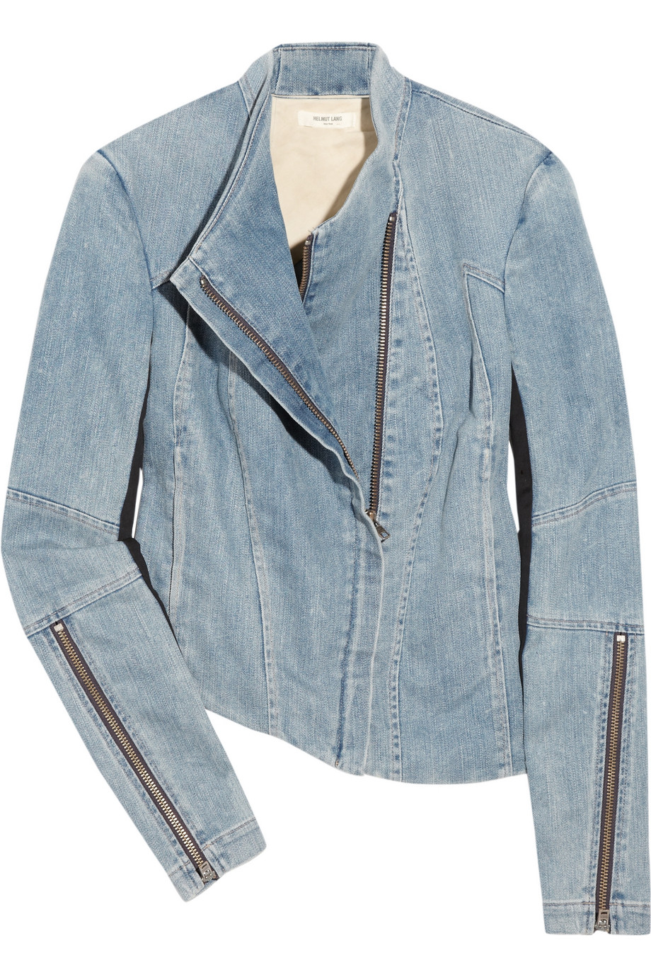 Helmut lang Asymmetric Stretch-denim Jacket in Blue | Lyst