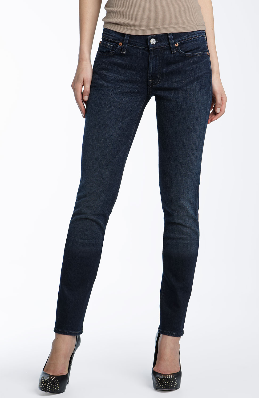 7 for all mankind Roxanne Skinny Stretch Jeans (dark Dakota Wash ...