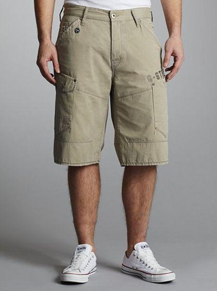 g star raw general length loose shorts beige in beige. Black Bedroom Furniture Sets. Home Design Ideas