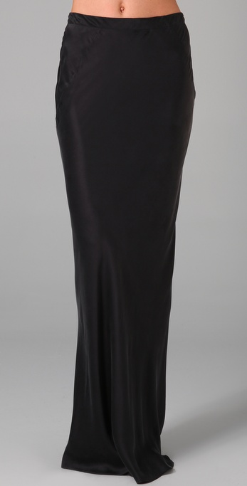 T by alexander wang Silk Maxi Skirt in Black | Lyst