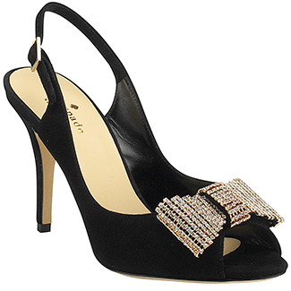 Kate Spade New York Crown Black Suede Slingback