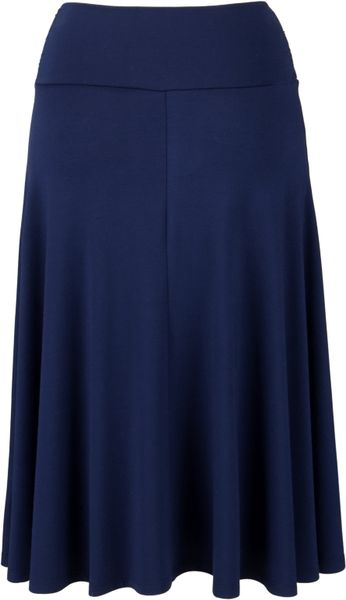 lewis jersey flared skirt navy in blue navy