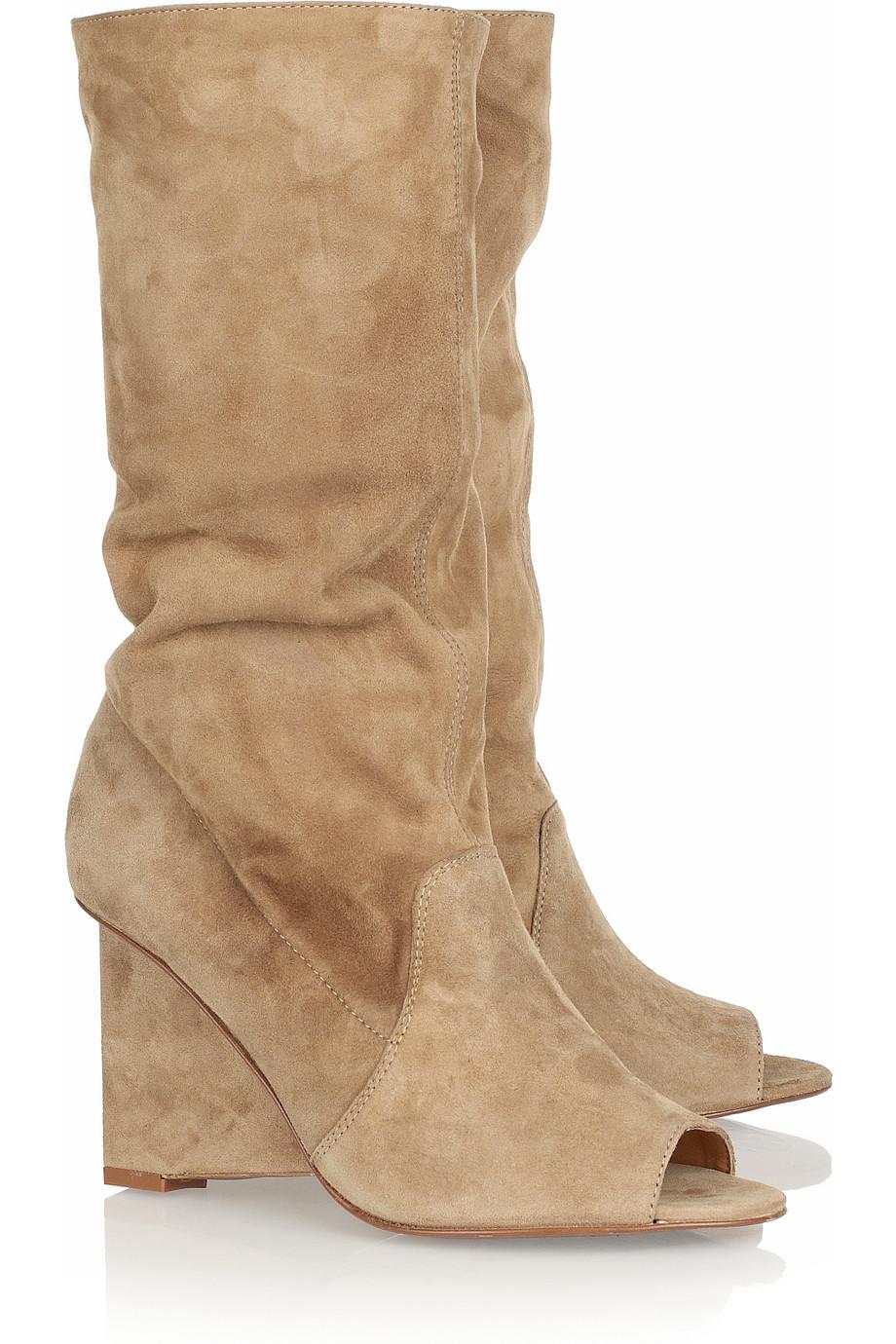 diane furstenberg weaver suede opentoe boots in beige