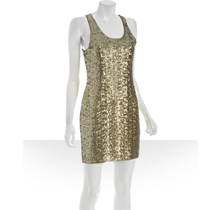 Alice   olivia Gold Sequin Tank Dress in Metallic - Lyst