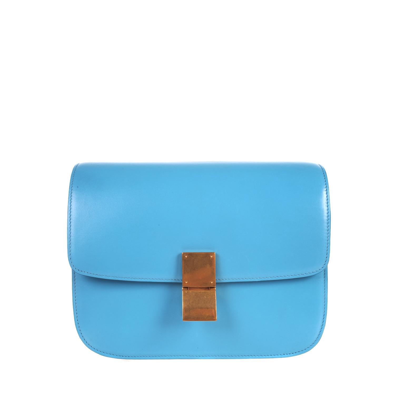 C¨¦line Classic Medium Flap Bag in Box Leather in Blue (lagoon) | Lyst