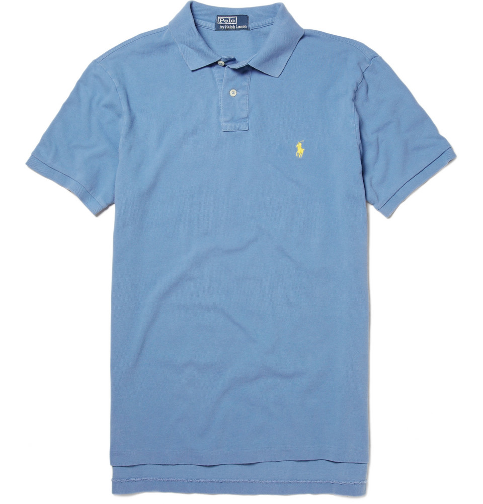 Polo ralph lauren custom fit pique polo shirt in blue for for Polo ralph lauren custom fit polo shirt