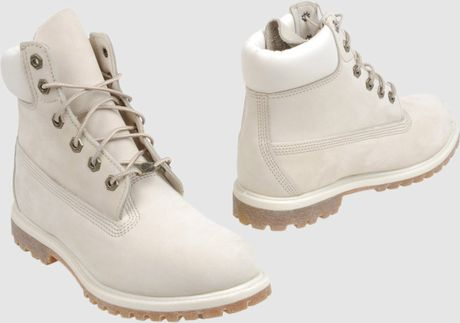 timberland combat boots in white for ivory lyst