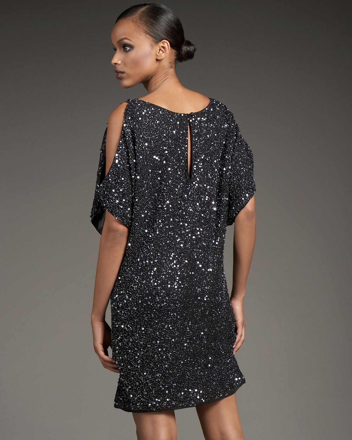 Aidan mattox Cold-shoulder Sequined Sheath Dress in Black  Lyst