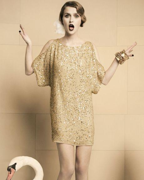 Aidan Mattox Gold Sequin Dress Aidan Mattox Sequined