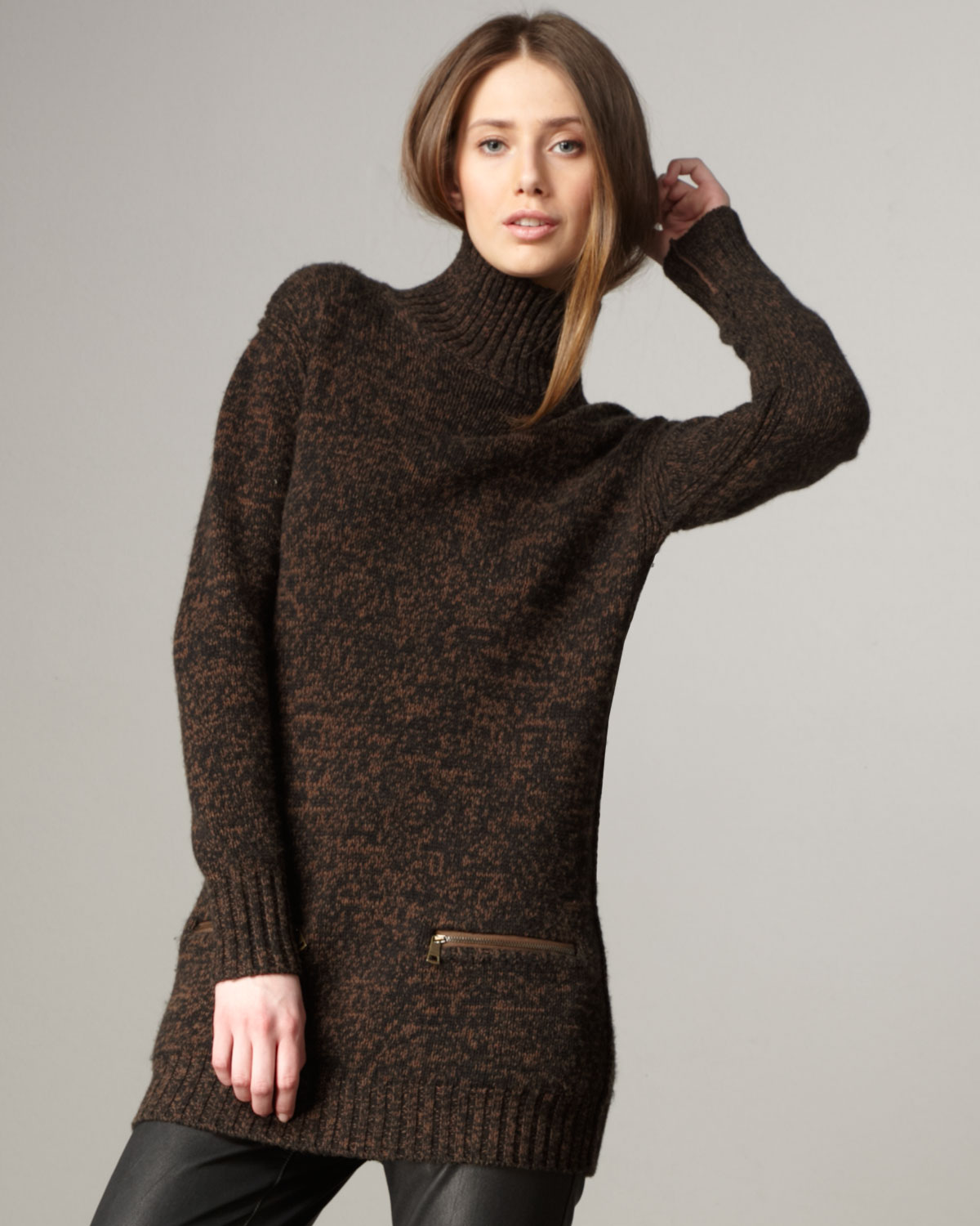 Burberry brit Zip-pocket Sweater Tunic in Brown | Lyst