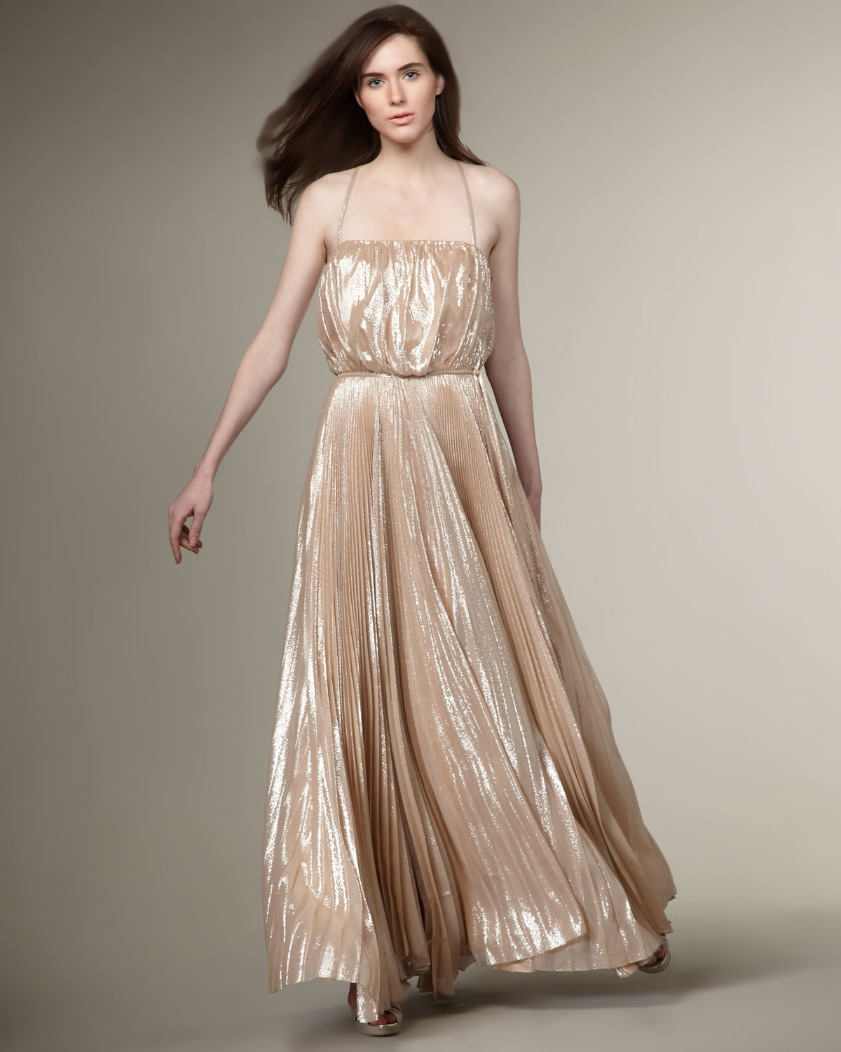 Lyst - Halston Pleated Gown in Pink